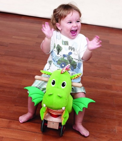 Puffy Green Dragon Ride On Toddler Toy